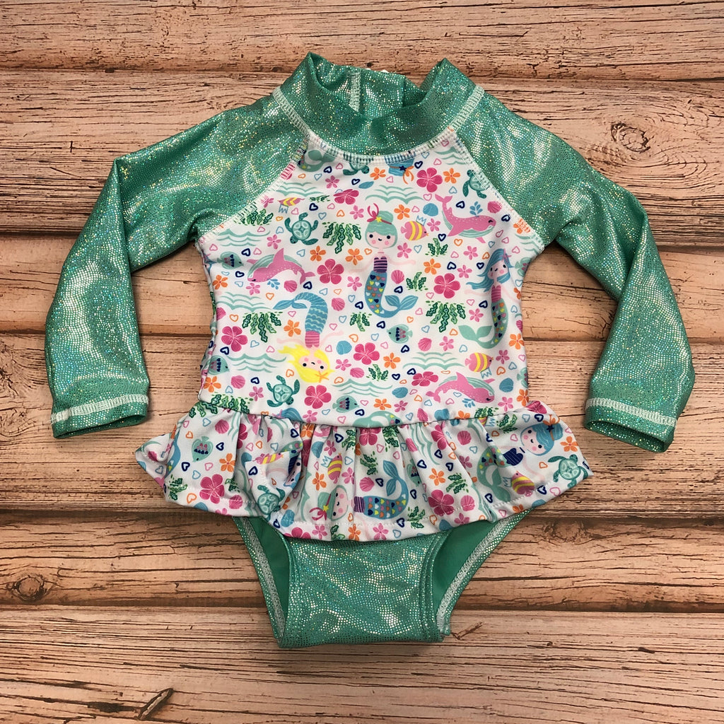 Flap Happy UPF 50+ Infant Ruffle Rash Guard Swimsuit, Mermaid Lagoon