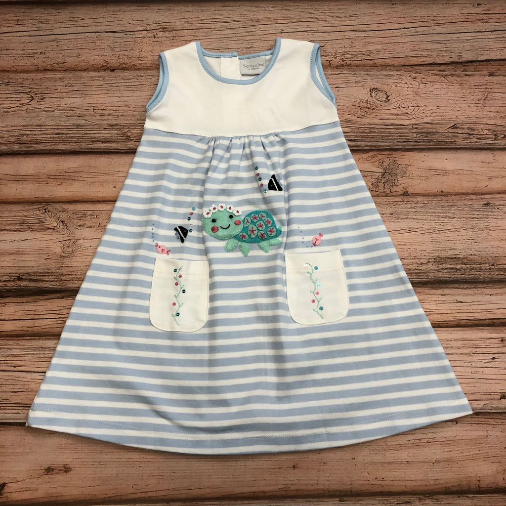 Squiggles Turtle Applique Sleeveless Dress