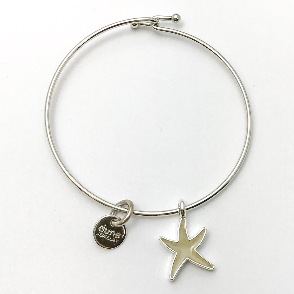 Dune Beach Sand Bangle, Silver Starfish