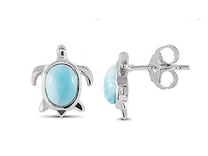 Sterling Silver w/ Larimar Turtle Earring Post