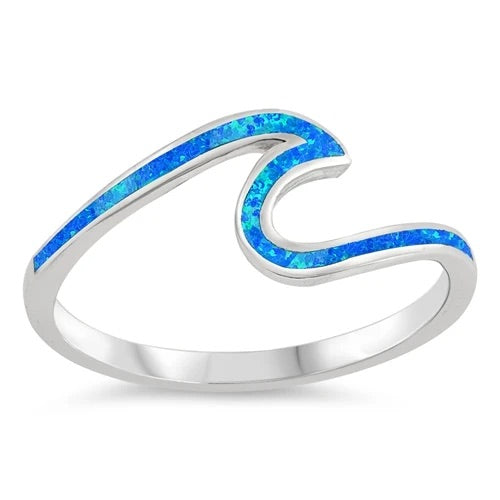 Sterling Silver w/ Blue Opal Wave Ring