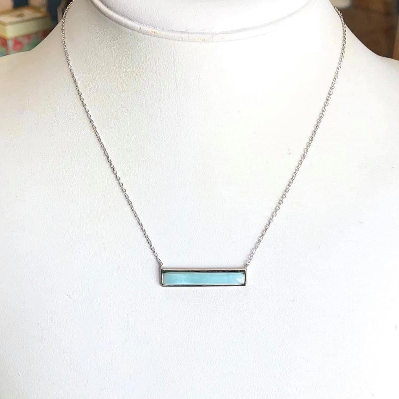 Sterling Silver Larimar Bar Necklace w/ Extension