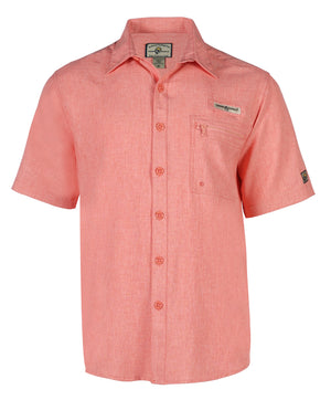 Hook & Tackle Tamarindo Short Sleeve Fishing Shirt, Salmon