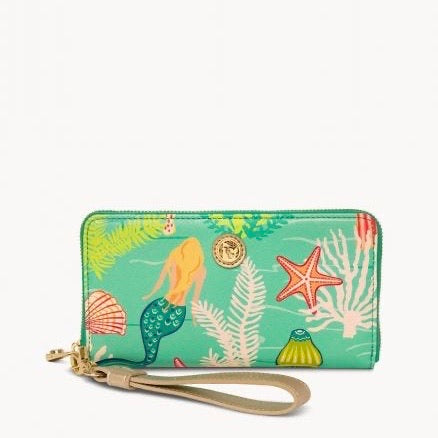 Spartina Golden Mermaid Wrist Wallet, Aqua