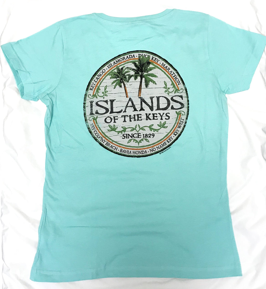 Islands of the Keys V Neck T-Shirt, Aqua Blue