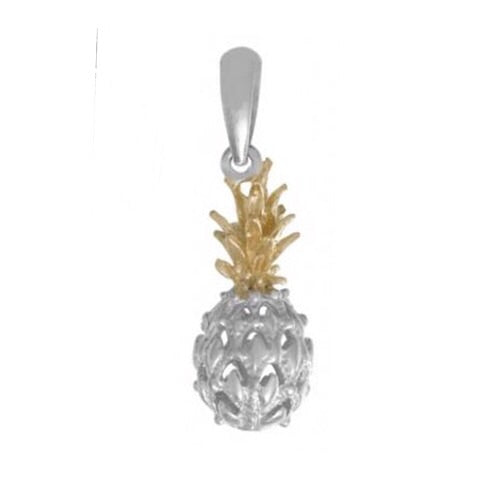 Pineapple Pendant, Sterling Silver w/ 14k Gold