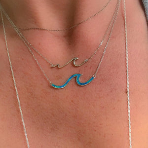 Sterling Silver w/ Blue Opal Wave Necklace, Adjustable to 18""