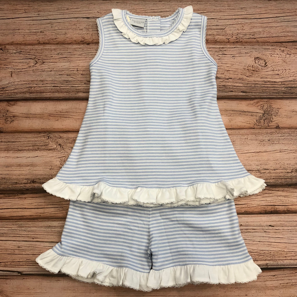 Squiggles 2 Piece Ruffle Set, Blue Stripes