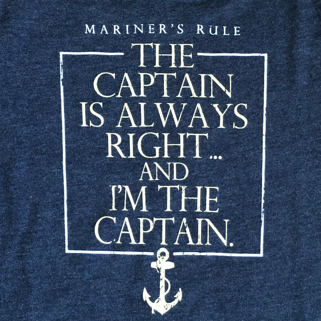 Youth Captain's Rule Captain is Always Right T-Shirt, Navy