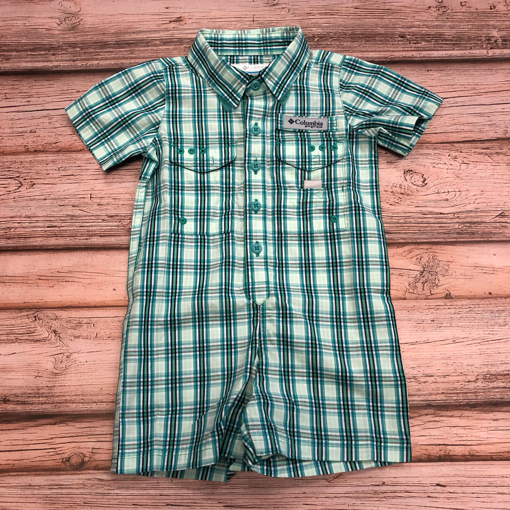 Columbia Bonehead Romper, Snap Bottom, Green