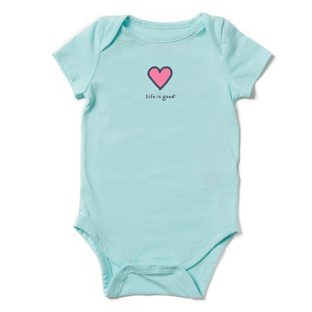 Life is Good Vintage Heart Onesie Bodysuit, Aqua