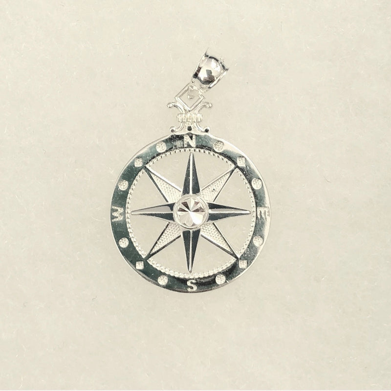 Compass Rose Pendant, Sterling Silver - Medium
