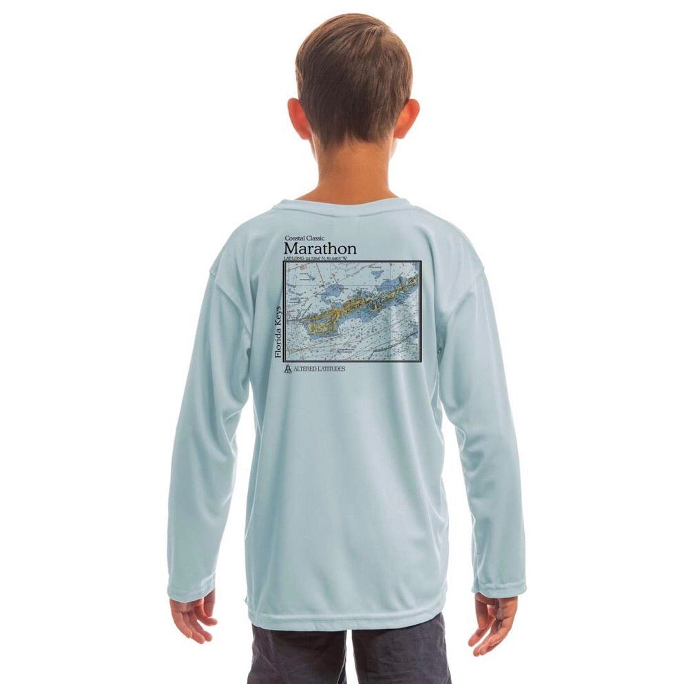 Marathon Chart Long Sleeve SPF Shirt Youth Arctic Blue