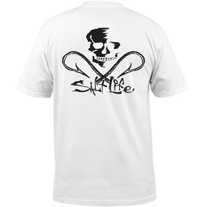 Salt Life Skull and Hooks Pocket Tee, White