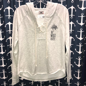 Be Wild Laceup Sweatshirt, Heather Grey