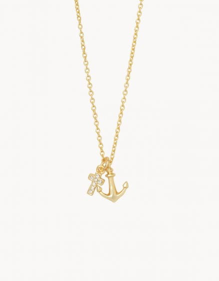 Spartina Gold Anchor Cross Necklace