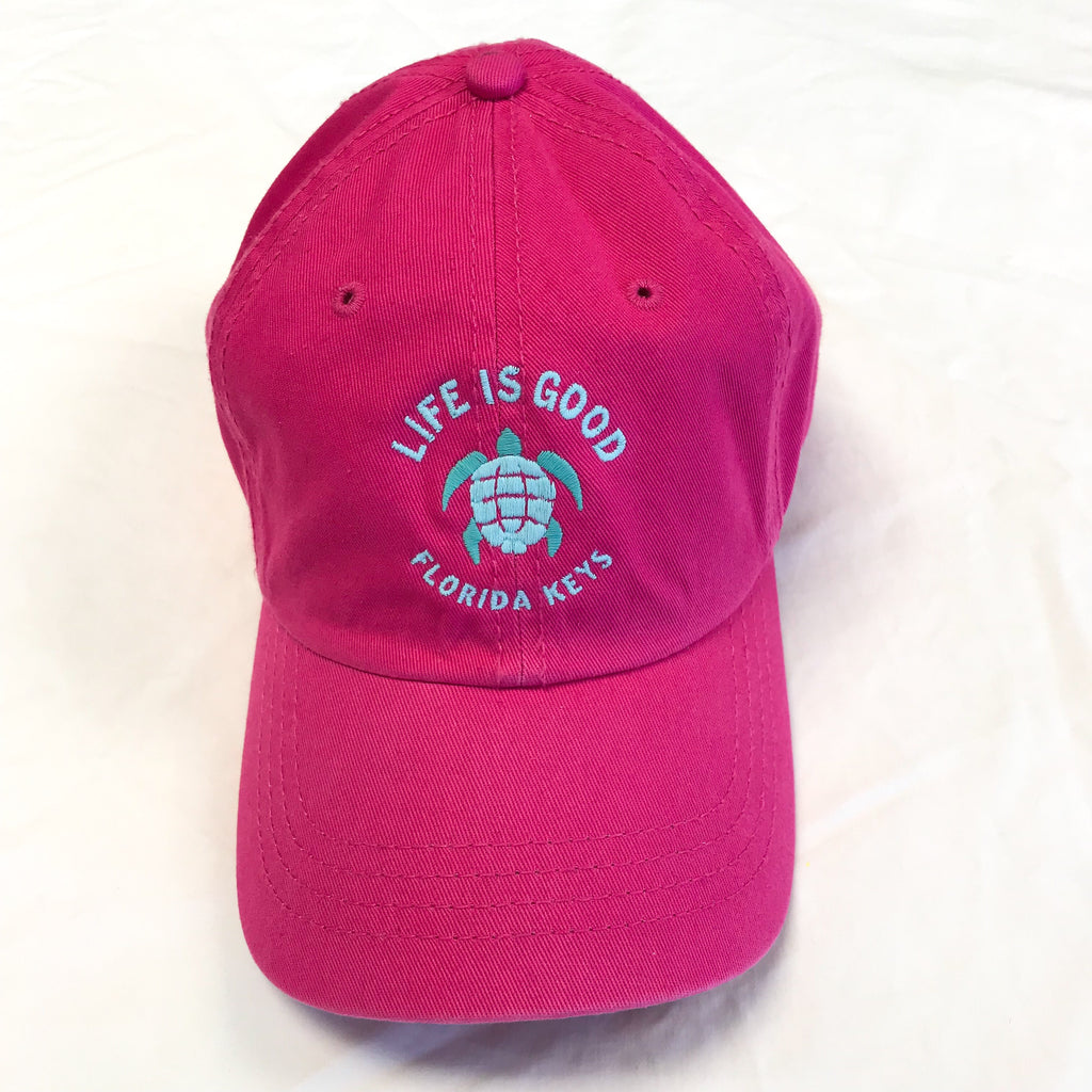 Life is Good Chill Cap Hat Turtle Fl Keys, Pink