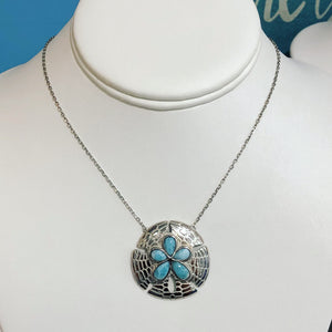 Sterling Silver Larimar Sand Dollar Necklace