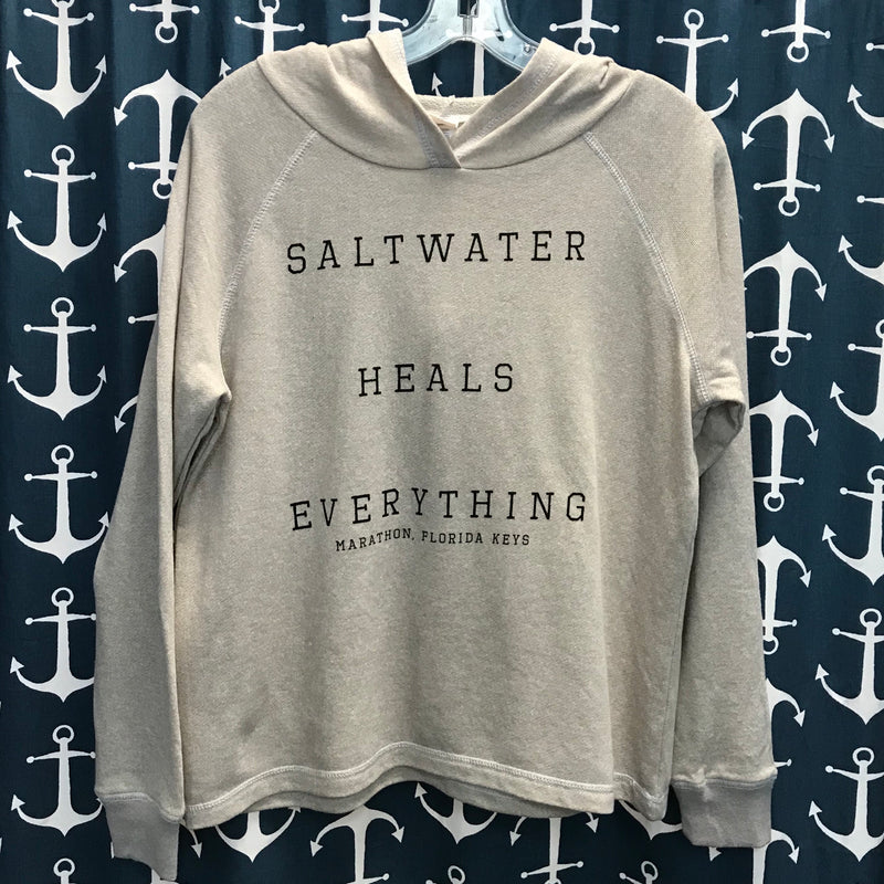 Saltwater Heals Everything Hooded Sweatshirt, Grey