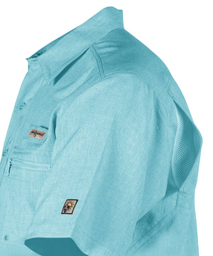 Hook & Tackle Tamarindo Short Sleeve Fishing Shirt, Aqua
