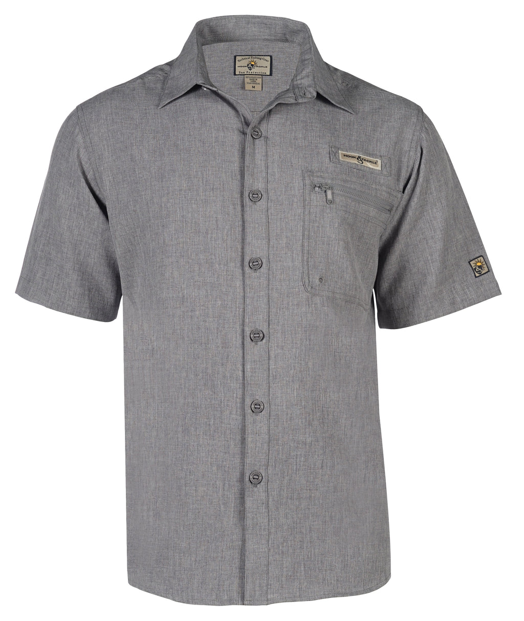 Hook & Tackle Tamarindo Short Sleeve Fishing Shirt, Charcoal