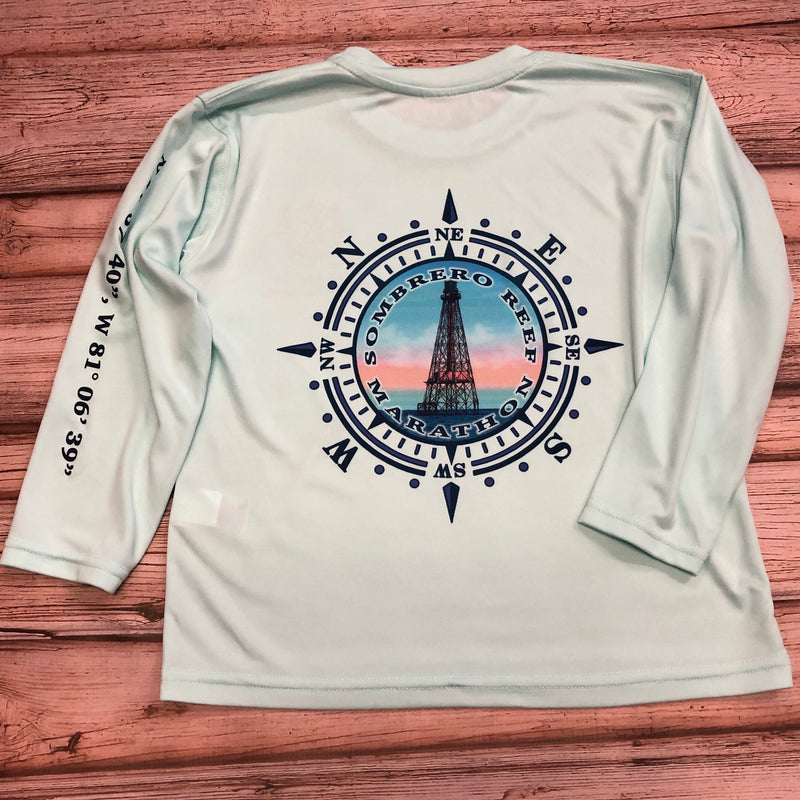 Sombrero Lighthouse Long Sleeve SPF Shirt Youth, Seagrass Aqua