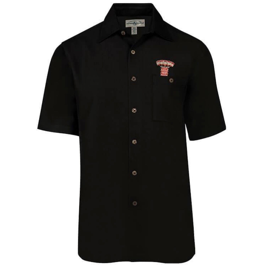 Hook & Tackle Embroidered Short Sleeve Lobster Shirt, Black
