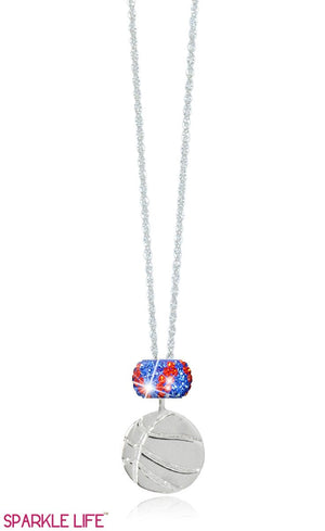 Single Orange & Blue Zebra Basketball Necklace