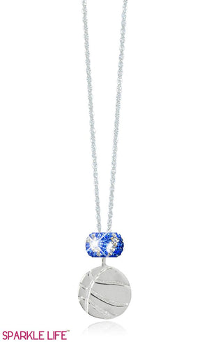 Single Sapphire & White Zebra Basketball Necklace