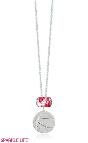 Single Red & White Zebra Basketball Necklace