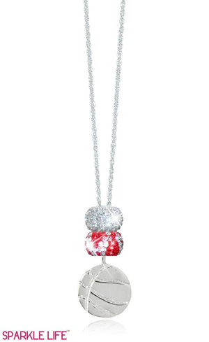 Red & White Zebra Basketball Necklace