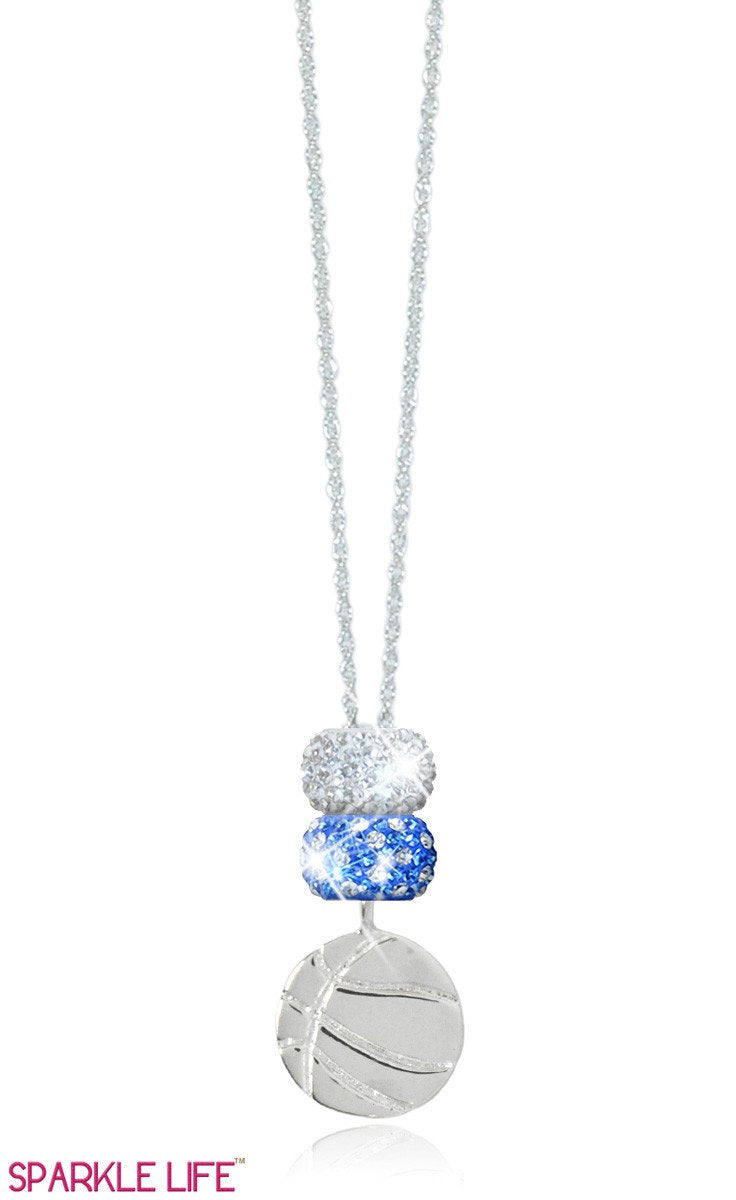 Sapphire & White Polka Dot Basketball Necklace