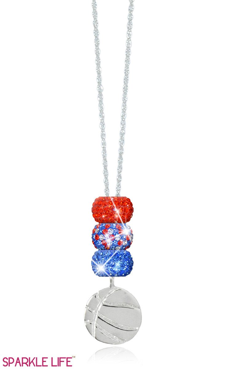 Orange & Blue Speckled Basketball Necklace