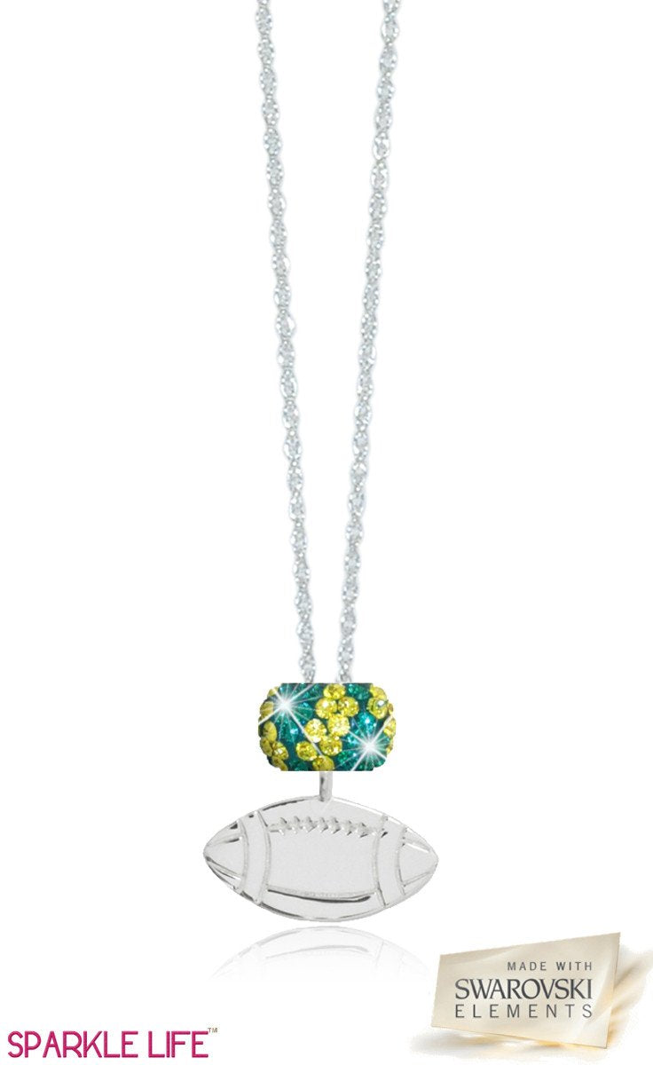 Single Green & Yellow Zebra Football Necklace