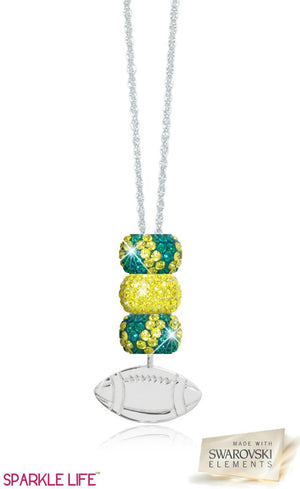 Green & Yellow Zebra Football Necklace