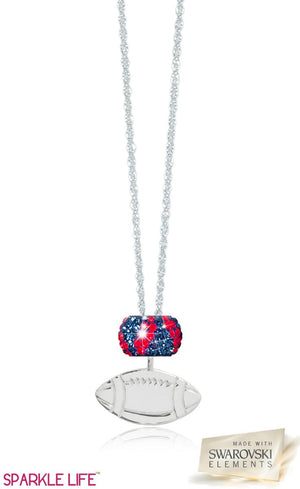 Single Navy & Red Zebra Football Necklace