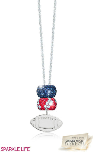 Navy & Red Zebra Football Necklace