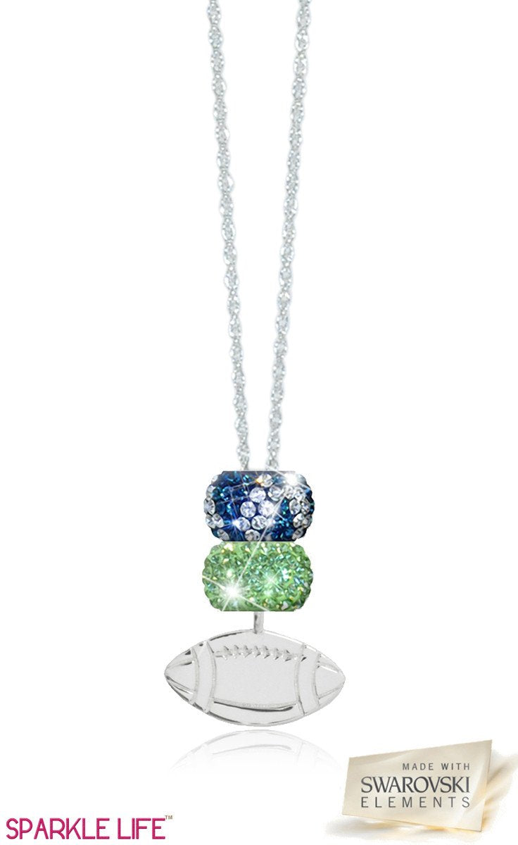 Green & Navy Zebra Football Necklace