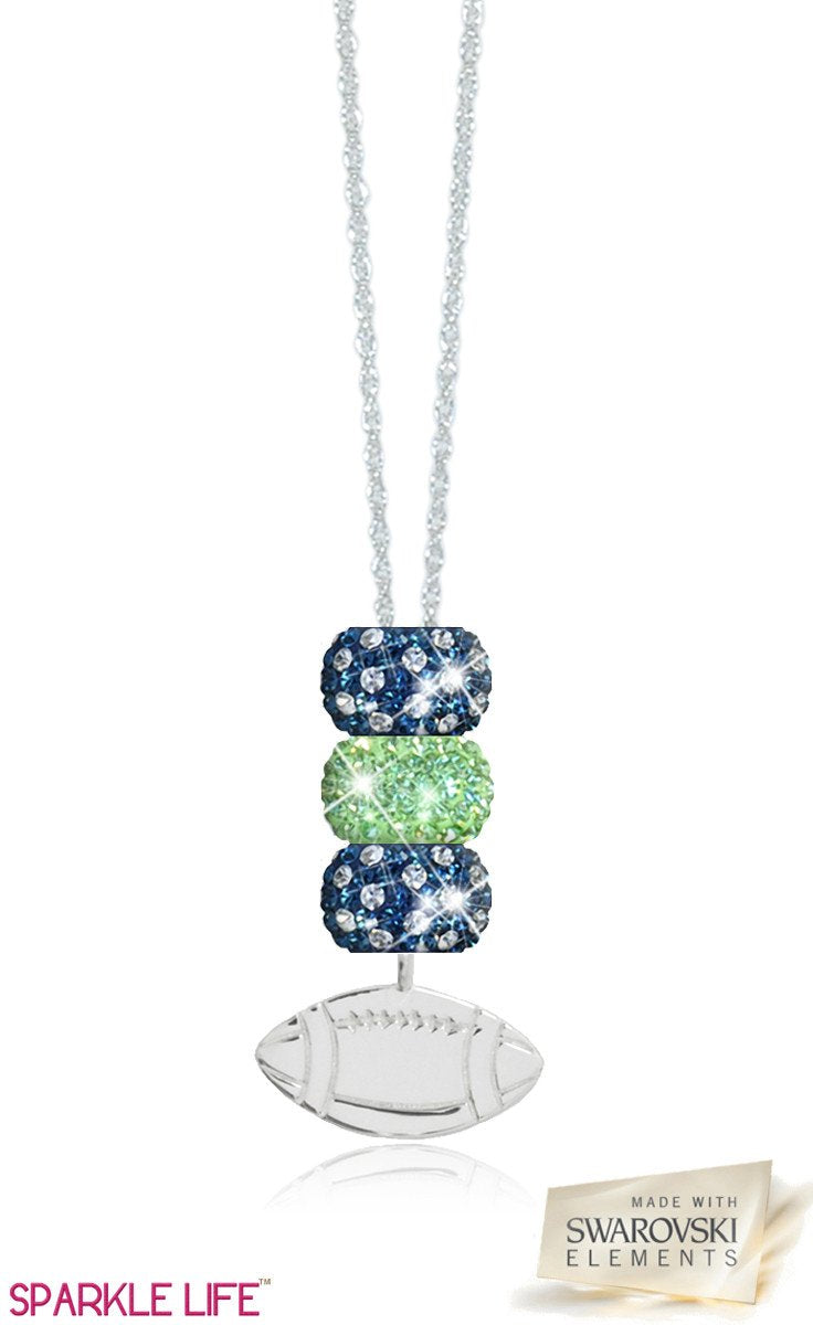 Green & Navy Football Necklace