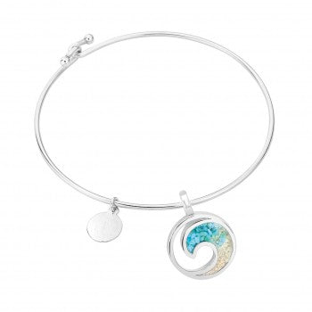 Dune Beach Sand & Turquoise Bangle, Silver Wave