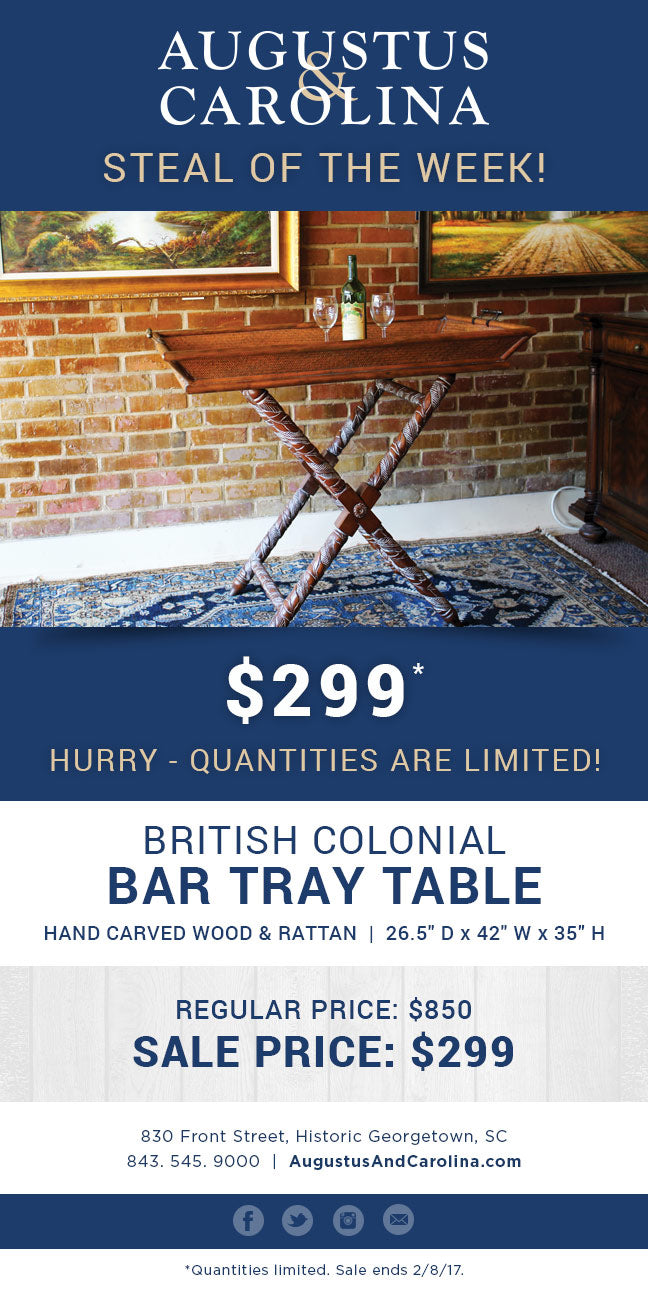 British Colonial Bar Tray Table