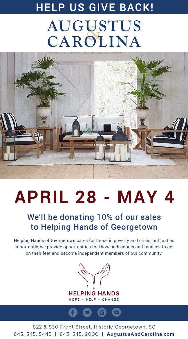 April 28 - May 4, we're donating 10% of our sales to Helping Hands of Georgetown