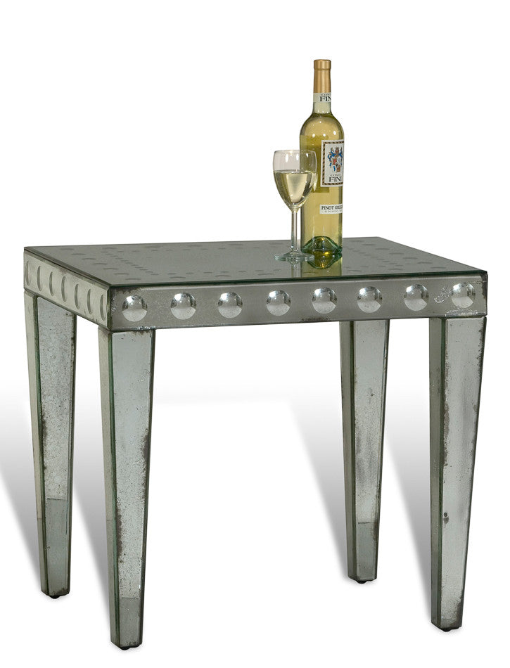 Optical Mirror Glass Side Table