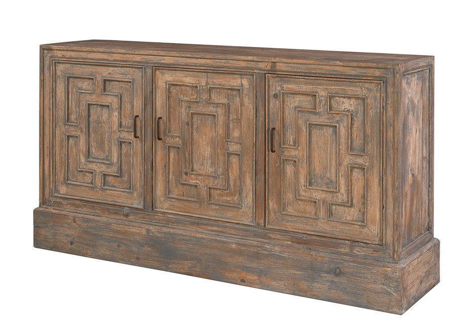 Wood Sideboard with Blue Accents