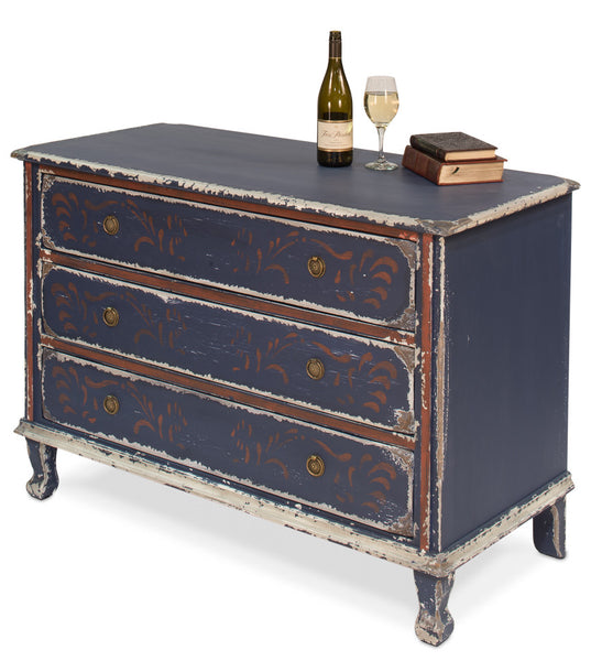 Painted Chest Of Drawers, Country Blue