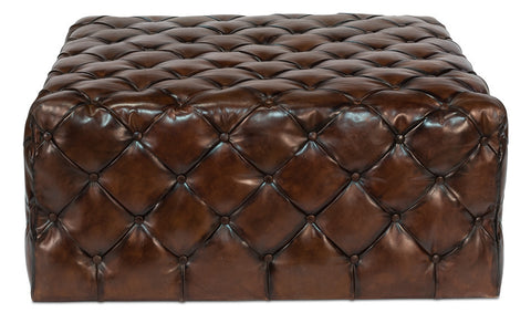 Large English Tufted Leather Ottoman