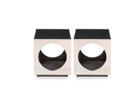 Cube & Circle Side Table, Pair