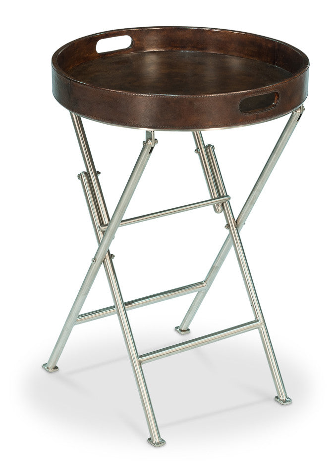 Judson Tray Table, Brown Leather
