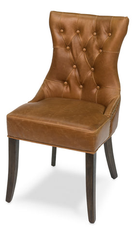 Hinckley Leather Side Chair, Dark