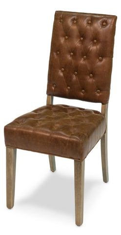 Brady Leather Side Chair, Dark Chocolate